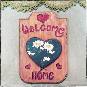 Vtg wooden handpainted tole folk art welcome sign